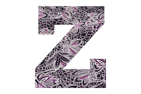 Letter Z – with floral fabric texture on white background 写真素材