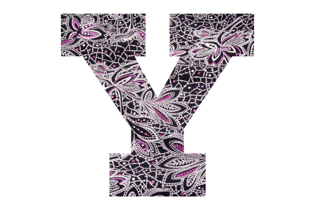 Letter Y – with floral fabric texture on white background 写真素材 - 111307804