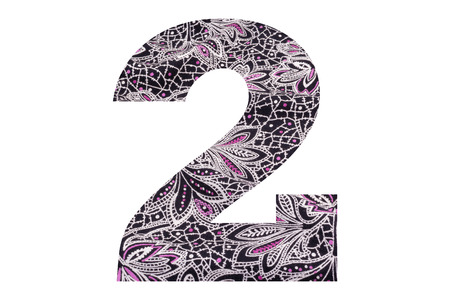 Number 2 – with floral fabric texture on white background