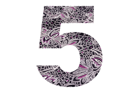 Number 5 – with floral fabric texture on white background 写真素材