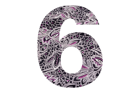 Number 6 – with floral fabric texture on white background