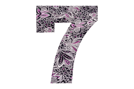 Number 7 – with floral fabric texture on white background