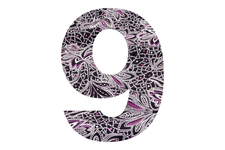 Number 9 – with floral fabric texture on white background 写真素材 - 111307859