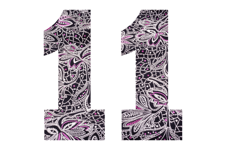 Number 11 – with floral fabric texture on white background 写真素材 - 111307872