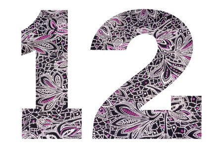 Number 12 – with floral fabric texture on white background