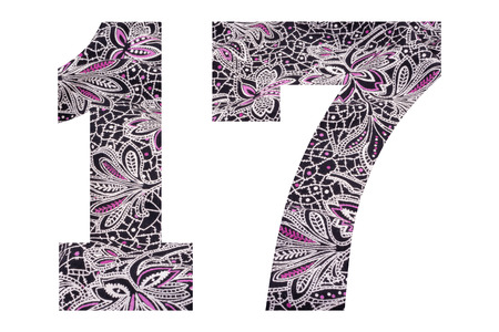 Number 17 – with floral fabric texture on white background