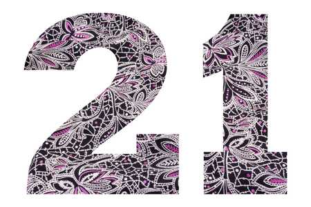Number 21 – with floral fabric texture on white background