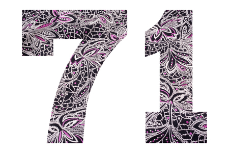 Number 71 – with floral fabric texture on white background