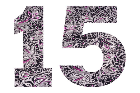 Number 15 – with floral fabric texture on white background Stockfoto