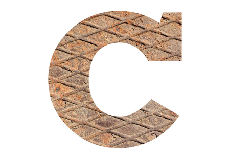Letter C – with rusty metal texture on white background