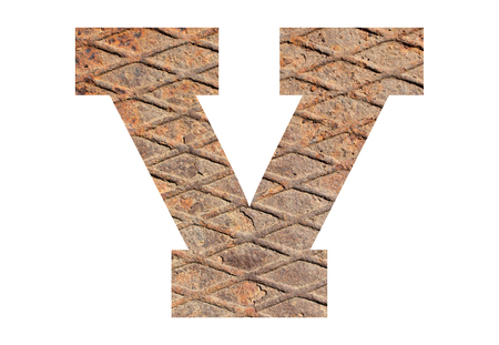 Letter V – with rusty metal texture on white background