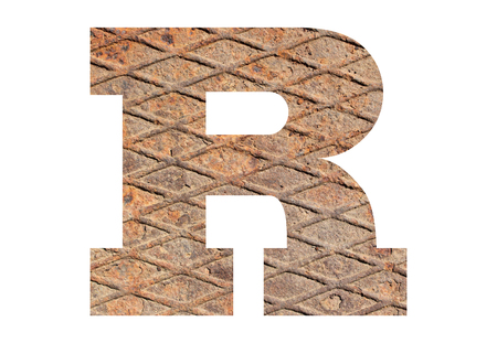 Letter R – with rusty metal texture on white background