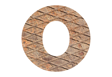 Letter O – with rusty metal texture on white background Banco de Imagens