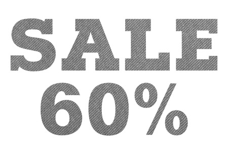 SALE 60 Percent – with gray fabric texture on white background Stockfoto