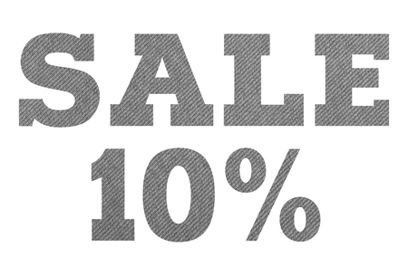 SALE 10 Percent – with gray fabric texture on white background