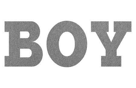 BOY – with gray fabric texture on white background Imagens