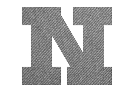 Letter N – with gray fabric texture on white background