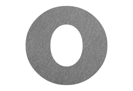 Letter O – with gray fabric texture on white background
