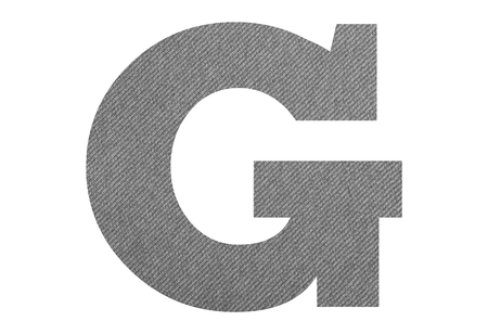 Letter G – with gray fabric texture on white background