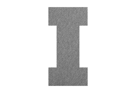 Letter I – with gray fabric texture on white background