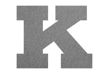 Letter K – with gray fabric texture on white background