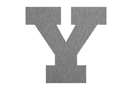 Letter Y – with gray fabric texture on white background Foto de archivo