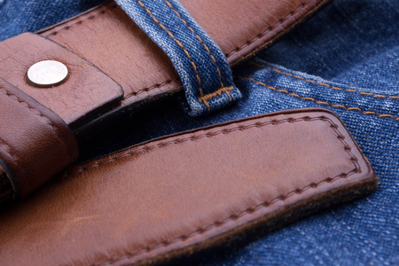 Brown leather belt with jeans 写真素材
