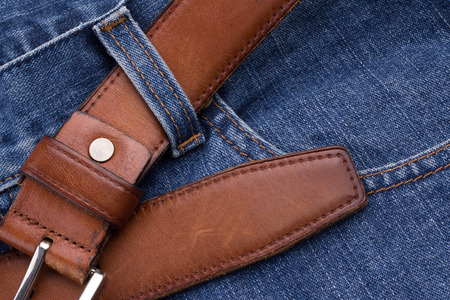 Brown leather belt with jeans Banque d'images