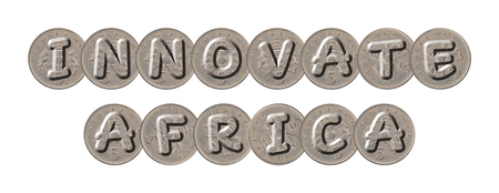 INNOVATE AFRICA with old coins on white background 版權商用圖片