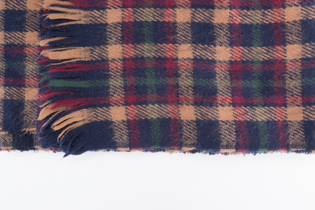 Plaid textured scarf isolated on white