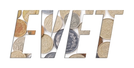 EVET (Yes) - with stack of old Turkish coins on white background