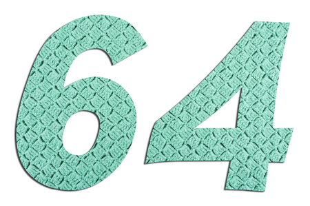 Number 64  with hand knitted texture on white background