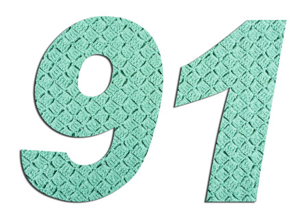 Number 91  with hand knitted texture on white background