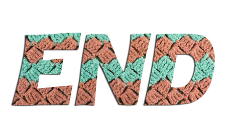 END word with hand knitted texture on white background