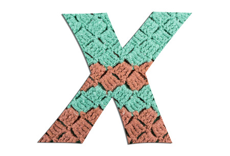 Letter X alphabet with hand knitted texture on white background Archivio Fotografico