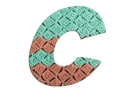 Letter C alphabet with hand knitted texture on white background