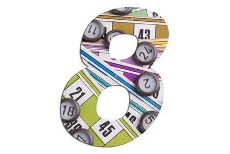 Number 8 - with tombola cards on white background