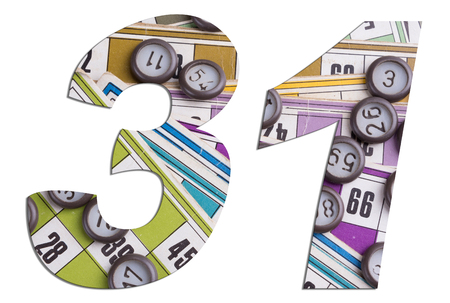 Number 31 with Lotto cards and game chips on white background