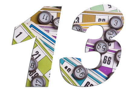 Number 13 with Lotto cards and game chips on white background