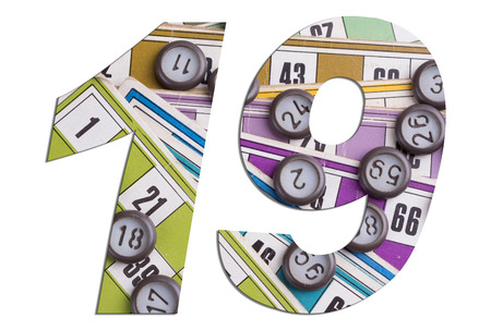 Number 19 with Lotto cards and game chips on white background Archivio Fotografico