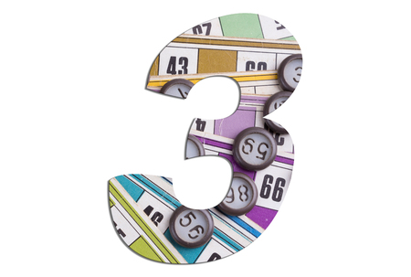 Number 3 with Lotto cards and game chips on white background