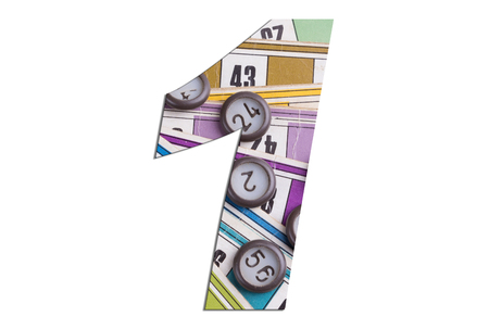 Number 1 with Lotto cards and game chips on white background Archivio Fotografico