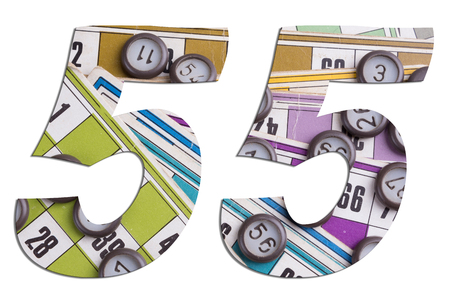 Number 55 with Lotto cards and game chips on white background Фото со стока