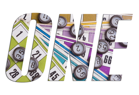 ONE word with Lotto cards and game chips on white background Archivio Fotografico
