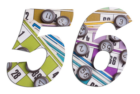 Number 56 with Lotto cards and game chips on white background