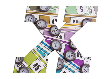Letter X with Lotto cards and game chips on white background