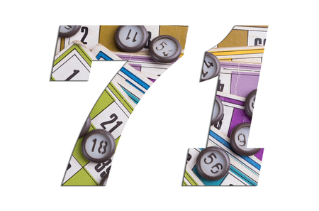 Number 71 with Lotto cards and game chips on white background