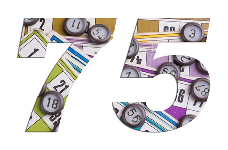 Number 75 with Lotto cards and game chips on white background Imagens