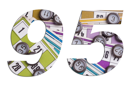 Number 95 with Lotto cards and game chips on white background