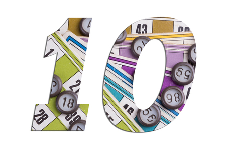 Number 10 with Lotto cards and game chips on white background